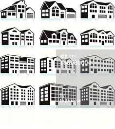 apartment buildings and condominiums black and white royalty free