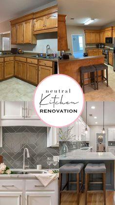 Diy Kitchen Remodel, Kitchen Redo, Kitchen Design, Farmhouse Kitchen Cabinets, Updated Kitchen, Kitchen Updates, Neutral Kitchen, Painting Kitchen Cabinets, Cuisines Design