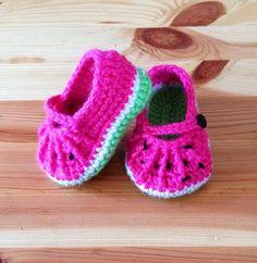 Crochet Watermelon Mary Jane Baby Booties by BellaBeansCrochet