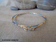 NOUVEAUTÉ Bracelet minimaliste en perles Miyuki delicas Doré et bleu Plaqué Or Minimalisme Bohochic Bohemian Bohostyle : Bracelet par m-comme-maryna Plaque, Creations, Beaded Bracelets, Beads, Trending Outfits, Unique Jewelry, Handmade Gifts, Comme, Diy Ideas