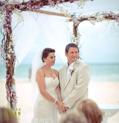 Beach Wedding Ceremony Decor | Mexico Beach wedding | Playa del Carmen Mexico Beach Wedding at Playacar Palace | Kristen Sloan Photography | Lavender Wedding Flowers |