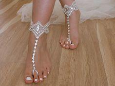 SANDALS // Rhinestone Beach wedding barefoot ,anklet, free ship Barefoot Sandals, Sexy, Yoga, Anklet , Bellydance, Steampunk, Beach Pool