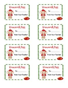 Homework passes ~ christmas themed | Homework pass and Homework