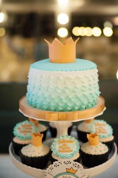 blue ombre cake! Perfect for a #mermaid, #pool or #prince party! karaspartyideas.com