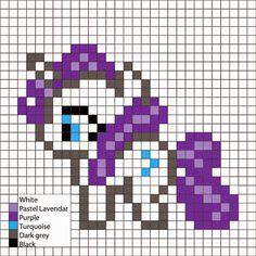 Perler Mania: My Little Pony, Friendship is Magic: Rarity Pony Bead Patterns, Hama Beads Patterns, Beading Patterns, Cross Stitch Patterns, Diy Perler Beads, Perler Bead Art, My Little Pony Rarity, Rarity Pony, Crochet Pony