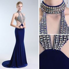 38a0bbcdcc6db Luxury / Gorgeous Navy Blue Evening Dresses 2019 Trumpet / Mermaid Halter  Rhinestone Suede Sleeveless Backless