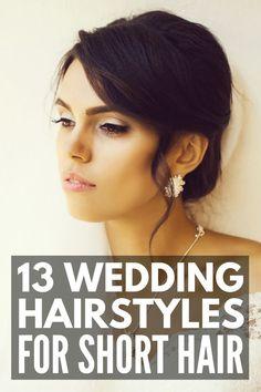 13 Wedding Hairstyles for Short Hair Hair Tutorials For Medium Hair, Medium Hair Styles, Curly Hair Styles, Hairstyle Tutorials, Wedding Hair Tips, Short Wedding Hair, Wedding Stuff, Short Hair Updo, Heatless Hairstyles