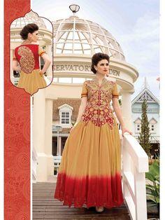 Beige/Red Partywear Net Women Gown Price INR4013
