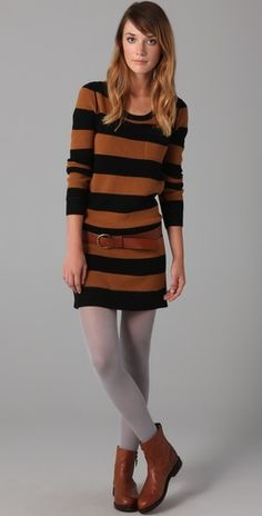 "striped. sweater. dress.  yessssss.  but i don't like these boots with it.  i would go for a more classic ""riding"" type."