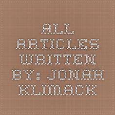 All Articles Written By: Jonah Klimack