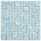 Merola Tile University Blue 11-3/4 in. x 11-3/4 in. x 5 mm Porcelain Mosaic Tile (9.62 sq. ft. / case), Blue And White/Mixed Finish