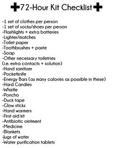 Free Printable 72-Hour Kit Checklist, another thing I'd like to have on hand in our house.