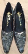 Desiree Tooled Leather Blue Green Gray Floral Heels Shoes 8 M