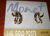 $14.99 14 k Gold posts Earrings Blow out price deal here. $14.99  2 free gifts with purchase   1 gift of a photon award which could be $1.00, $5, $50 its always a random amount and also i include a mystery gift in delivery