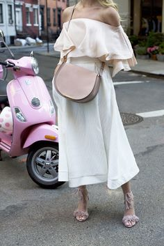 Fem and pretty. Blush off the shoulder blouse and white full skirt with amazing texture