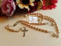 Pearl White and Chapagne/Rosary/Prayer Beads/Silver/Rosaries/Catholic/Handmade/Traditional by Justmyhands1Rosaries on Etsy