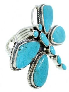 Dragonfly Southwestern Sterling Silver Turquoise Ring Size 8-1/2 PS72663 - $175.99