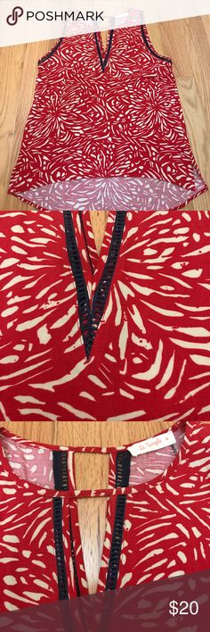 Golden Tote~le sample~ tank EUC. Red and cream print with navy lattice trim. Front and back cut outs. *perfect with a cardi and boots for fall le sample Tops Tank Tops