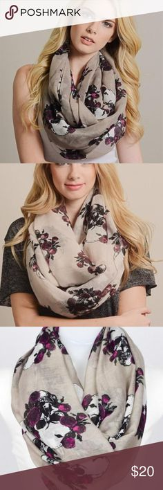 """Mocha Rose Skull Scarf Mocha infinity scarf featuring white skulls and purple and red-violet roses. Measures 39"""" x 35"""".  100% polyester Accessories Scarves & Wraps"""