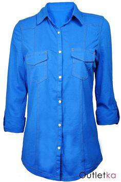 Nowa koszula firmy Next. Koszula bawełniana w odcieniu niebieskim. Szyta na wzór koszuli jeansowej.  Z przodu zapinana na zatrzaski. Posiada kołnierzyk. Koszula bardzo przyjemna w dotyku. Dobrze układa się na sylwetce. Rękawy ¾, również zapinane na zatrzask. Z przodu dwie kieszenie. Koszula taliowana.