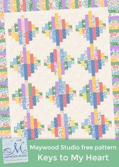 Keys to My Heart (pastel version) free pattern by Monique Dillard using Walk in the Park 1930s fabric by Maywood Studio. A Kim's Cause collection benefiting cancer research.
