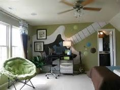 guitar Teenage Boy Bedroom Ideas - would love to do something like this for the boys with hanging style bunk beds
