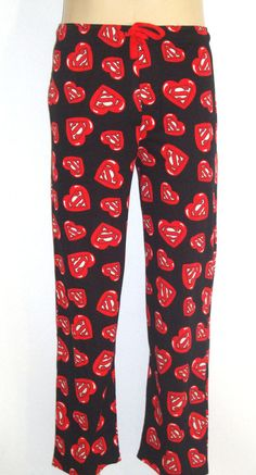75506b629c Lounge Pants size SMALL Superman Black Red HEARTS Shields Official DC Comics  NEW