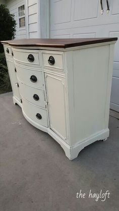 Duncan Phyfe style buffet in Annie Sloan Old White