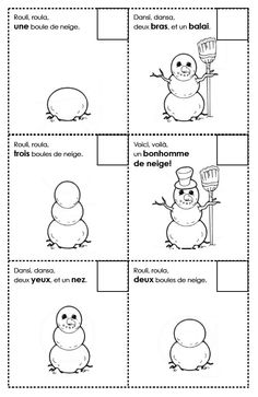 French Winter Activities: building a snowman