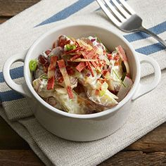 This creamy salad is the essence of summer picnics. The simple, classic potato salad is dressed up with pickle relish, shredded carrot, sliced radishes and crumbled MorningStar Farms® Veggie Bacon Strips.