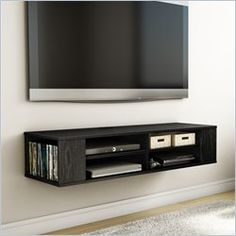 South Shore City Life Wall Mounted Media Console in Black Oak