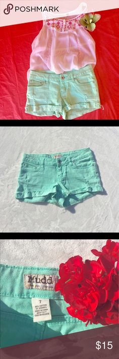 "☀️Mudd - Distressed Cuffed Mint Short Across waistband measures 15"", length is 8"", inseam 2"" Mudd Shorts Jean Shorts"