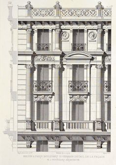 Detail of elevation of an apartment building on Boulevard Saint-Germain, Paris architecture Neoclassical Architecture, Classic Architecture, Architecture Drawings, Facade Architecture, Ancient Architecture, Sustainable Architecture, Landscape Architecture, Building Elevation, House Elevation