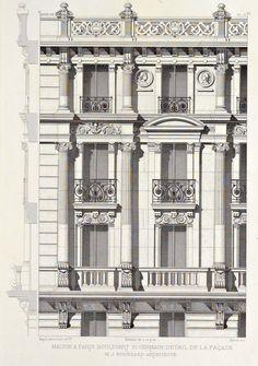 Detail of elevation of an apartment building on Boulevard Saint-Germain, Paris