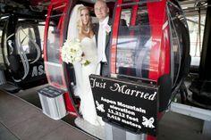 """Just Married"" gondola in Aspen, CO Wedding Getaway Car, Mary Jordan, Wedding Blog, Wedding Photos, Best Cities, Just Married, Marry Me, Bride Groom, Bridal Shower"