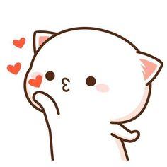 Kisses to my beautiful princess Cute Kawaii Drawings, Kawaii Doodles, Cute Doodles, Cute Animal Drawings, Cute Love Gif, Cute Love Memes, Chibi Cat, Cute Chibi, Gato Anime
