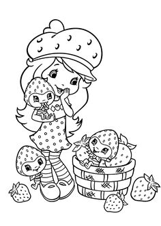 Small Strawberry shortcake coloring pages  printable free