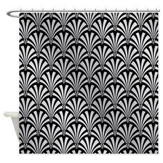 Elegant Black And Silver Art Deco Shower Curtain