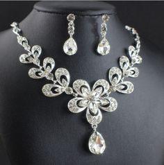 jiayijiaduo Necklace Earrings set of Bridal Jewelry Sets for Wedding Accessories Women Wedding party gift jewelry Rhinestone Necklace, Necklace Set, Dangle Earrings, Bridal Jewelry Sets, Clear Crystal, Earring Set, Ale, Dangles, Jewelry Necklaces