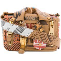 Moschino Biker parcel shoulder bag ($1,750) ❤ liked on Polyvore featuring bags, handbags, shoulder bags, brown, brown shoulder bag, genuine leather shoulder bag, shoulder strap handbags, leather shoulder handbags and brown leather handbags