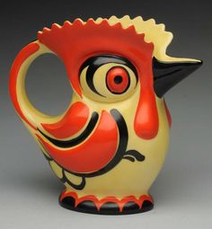 Czech Art Deco pottery rooster pitcher