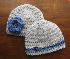 Twin Baby Hats, Boy Girl Twin Hats, Newborn Twin Photo Prop, Blue Denim, Gray Button, Crochet Caps, Newborn Beanie, Fall Summer Winter Hats