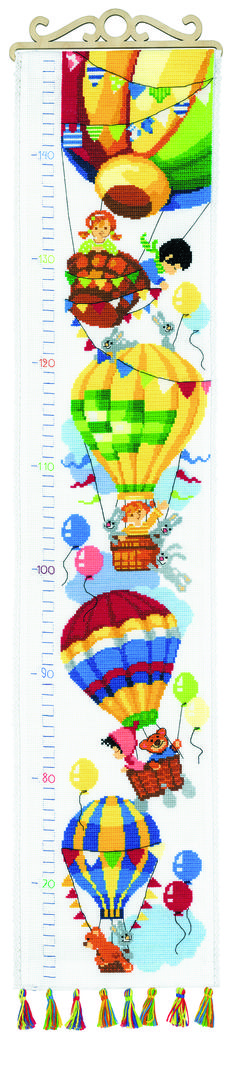Higher and Higher! - cross stitch kit, manufactured by RIOLIS. Includes 24 colors of floss anchor floss. Measuring Kids Height, Height Chart, Wooden Hangers, Cross Stitch Rose, Counted Cross Stitch Kits, Satin Stitch, Le Point, Embroidery Techniques, Embroidery Kits