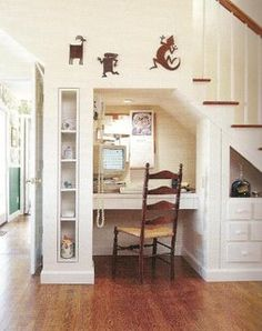 ideas for under the staircase- small office