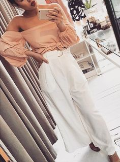 #cute #outfits Pink Off Shoulder Top // White Pants
