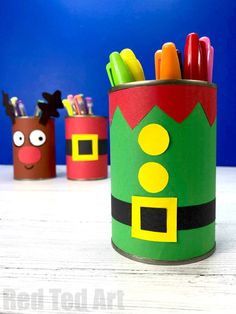 DIY Elf Desk Tidy & Pencil Pot - Red Ted Art - - Easy DIY Elf Desk Tidy and Elf Pencil Pot. How to make a Christmas Desk Tidy from Tin Cans and Paper. Easy Elf Christmas Decor for kids. Christmas Crafts For Kids To Make, Easy Crafts To Make, Easy Arts And Crafts, Christmas Activities, Simple Christmas, Kids Christmas, Holiday Crafts, Easy Diy, Homemade Christmas