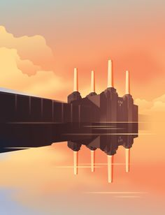 Posters and visual identity for iconic housing project Battersea Power Station, London.  By Mads Berg Art Nouveau Poster, Art Deco Posters, Boat Illustration, Digital Illustration, Amazing Architecture, Architecture Art, Science Fiction, Art Deco Artwork, Art Deco Stil