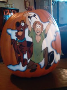 Ooh what a great painted pumpkin!