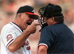 Bobby Cox - One of the greatest managers ever! Holds the all-time ejections record. Braves retired his on August College Workout, Travel Baseball, Baseball Classic, Brave Girl, Referee, Like A Boss, Atlanta Braves, Baseball Players, My Boys