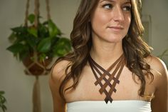 Woven Leather Necklace by hawkeyejewelry on Etsy, $50.00